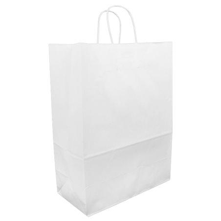Bolsa Papel Kraft Blanca con Asas 90g 32+16x43 cm (50 Uds)