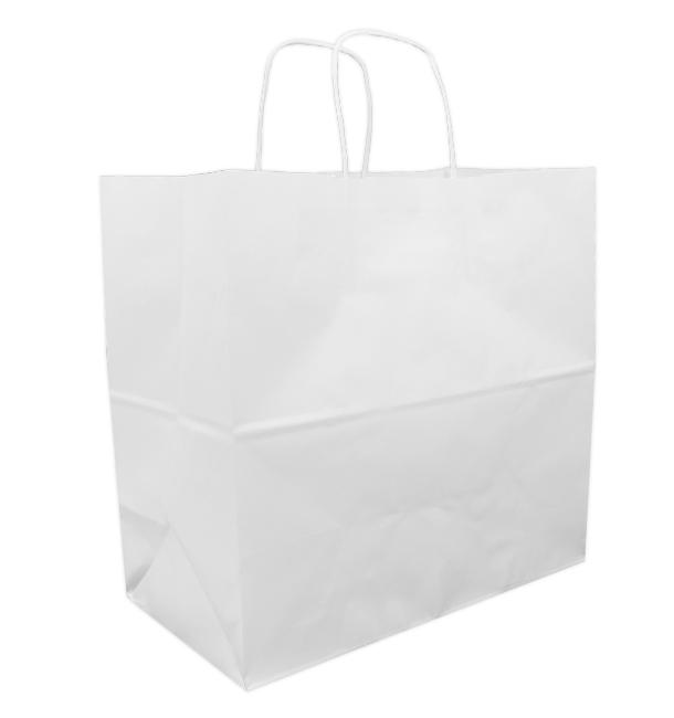 Bolsa Papel Kraft Blanca con Asas 90g 32+16x31 cm (50 Uds)