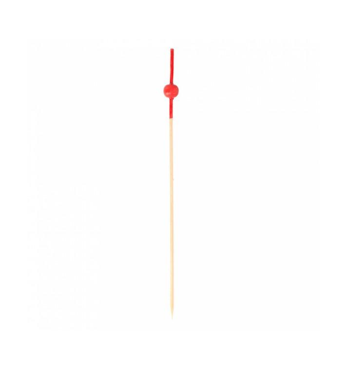 Pinchos de Bambu Decorados Bolita Roja 120 mm (100 Uds)