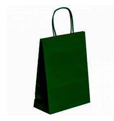 Bolsa Papel Kraft Verde con Asas 80g 20+10x29 cm (50 Uds)