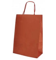 Bolsa Papel Kraft Roja con Asas 80g 20+10x29 cm (250 Uds)
