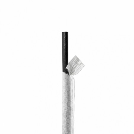 Pajita Recta Papel Negro Enfundada Blanco Ø6mm 21cm (250 Uds)