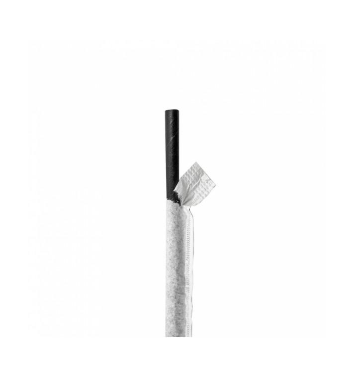 Pajita Recta de Papel Negro Enfundada en Blanco Ø6mm 21cm (6000 Uds)