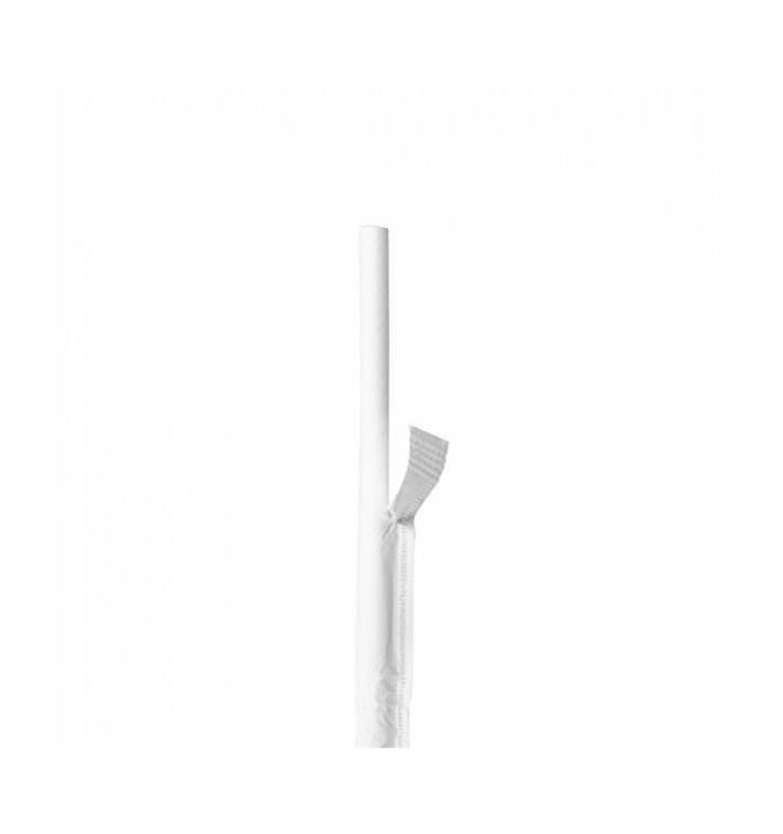 Pajita Recta de Papel Blanco Enfundada en Kraft Ø6mm 21cm (250 Uds)