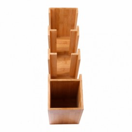 Organizador Vasos, Tapas y Pajitas de Bambú 14x50x50cm (1 Ud)