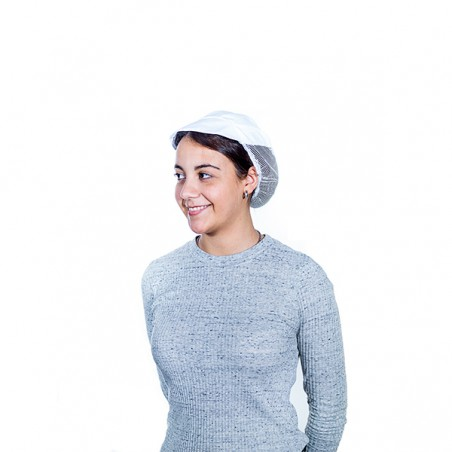 Gorro Cocinera Rejilla y Visera Algodón Blanco (25 Uds)