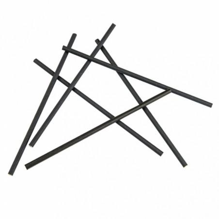 Pajita Recta de Papel Negro Ø6mm 20cm (250 Uds)