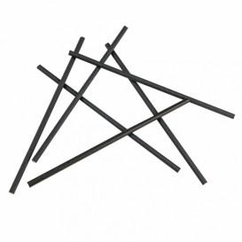 Pajita Recta de Papel Negro Ø6mm 20cm (6.000 Uds)