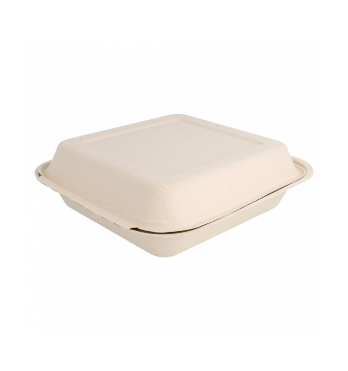 Envase MenuBox Caña Azúcar Natural 20x20x7,5cm (50 Uds)