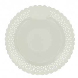 Plato de Carton Redondo Blonda Blanco 38 cm (100 Uds)