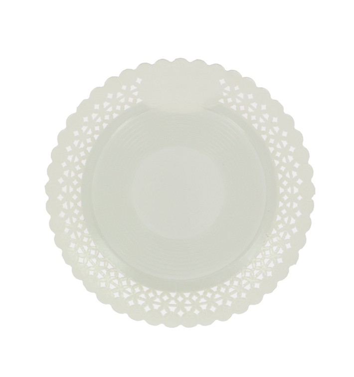 Plato de Carton Redondo Blonda Blanco 32 cm (100 Uds)