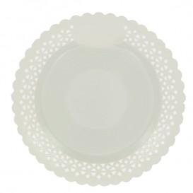 Plato de Carton Redondo Blonda Blanco 25 cm (100 Uds)