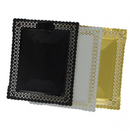 Bandeja de Carton Blonda Negra 18x25 cm (100 Uds)