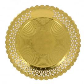 Plato de Carton Redondo Blonda Oro 25 cm (100 Uds)