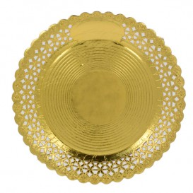 Plato de Carton Redondo Blonda Oro 20 cm (100 Uds)