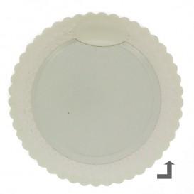 Plato de Carton Redondo Blonda Blanco 30 cm (50 Uds)