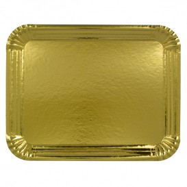 Bandeja de Carton Rectangular Dorada 18x24 cm (100 Uds)