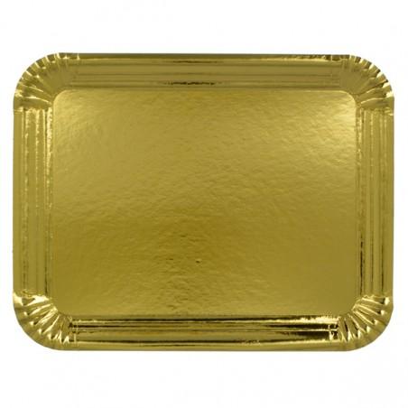 Bandeja de Carton Rectangular Dorada 16x22 cm (100 Uds)