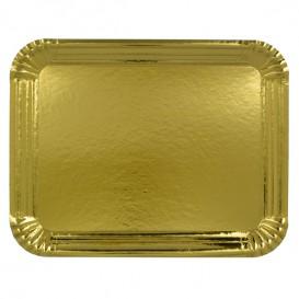 Bandeja de Carton Rectangular Dorada 20x27 cm (800 Uds)