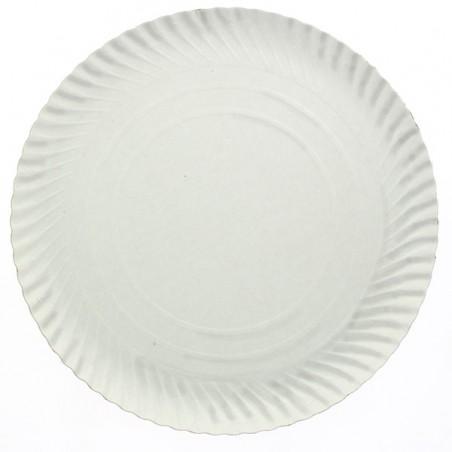 Plato de Carton Redondo Blanco 230mm (500 Uds)