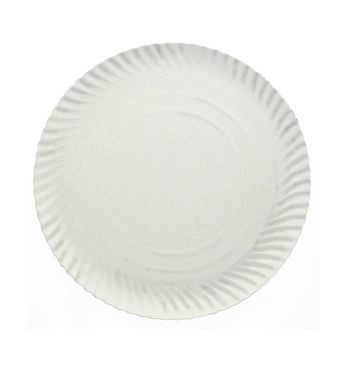 Plato de Carton Redondo Blanco 380 mm (50 Uds)