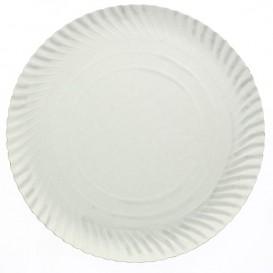 Plato de Carton Redondo Blanco 250 mm (100 Uds)