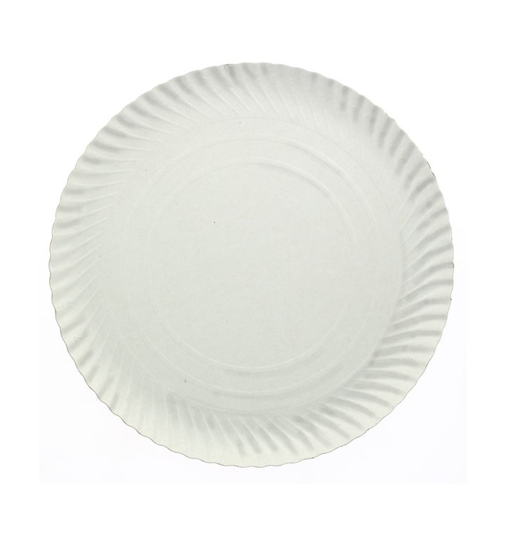 Plato de Carton Redondo Blanco 410 mm (150 Uds)