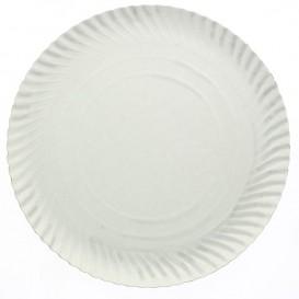 Plato de Carton Redondo Blanco 440 mm (100 Uds)