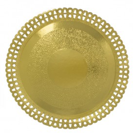 Plato de Carton Redondo Blonda Dorado 230 mm (50 Uds)