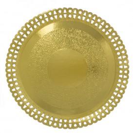 Plato de Carton Redondo Blonda Dorado 330 mm (50 Uds)