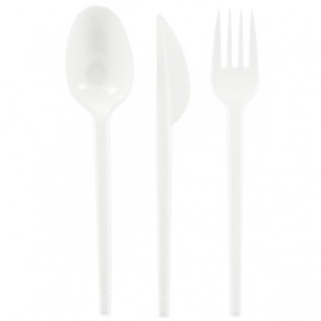 Set Cubiertos Plastico Tenedor, Cuchillo y Cuchara (500 Uds)