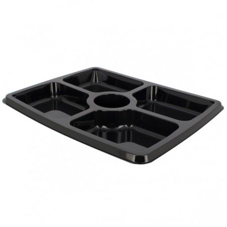 Bandeja Reutilizable PET 5C Rectangular Negro 31,6x26,5x3cm (25 Uds)