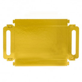 Bandeja Cartón Rectangular Oro Asas 30x12 cm (600 Uds)