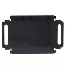 Bandeja Cartón Rectangular Negra Asas 32x7,5 cm (100 Uds)