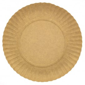 Plato de Carton Redondo Kraft 230 mm (500 Uds)