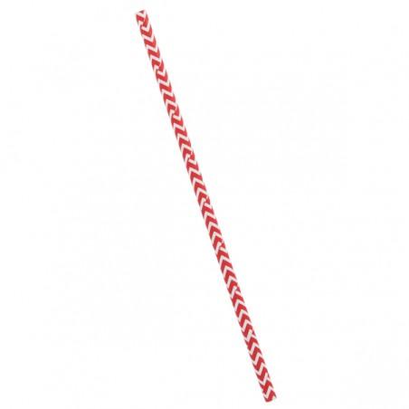 Pajita Recta de Papel Rojo y Blanco Ø6mm 20cm (6000 Uds)