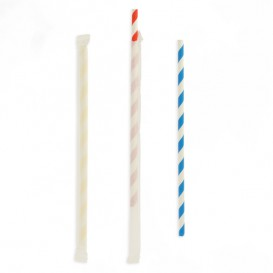 Pajita Flexible Papel Surtido Enfundada Ø6mm 23cm (250 Uds)