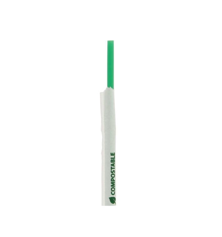 Pajita Flexible Enfundada PLA Verde Ø6mm 24cm (4800 Uds)