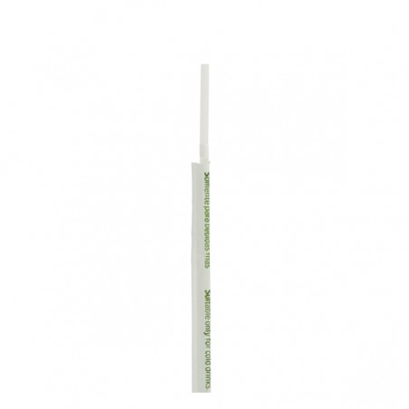 Pajita Flexible Enfundada de PLA Blanco Ø5mm 21cm (250 Uds)