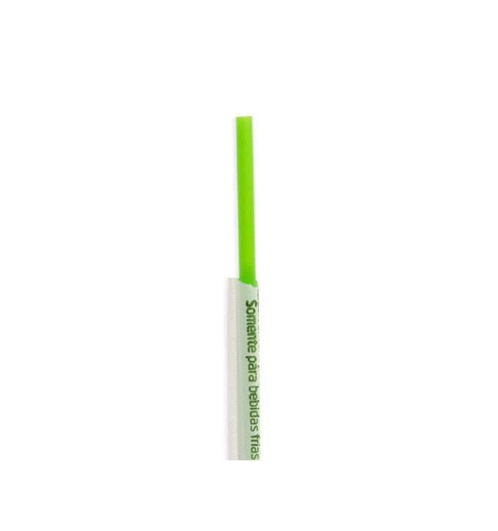 Pajita Recta Enfundada de PLA Verde Ø6mm 20cm (250 Uds)