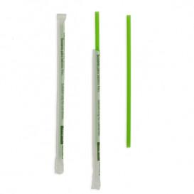 Pajita Recta Enfundada de PLA Verde Ø6mm 20cm (6500 Uds)