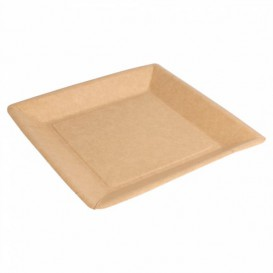 Plato de Papel Biocated Natural Cuadrado 23cm (400 Uds)