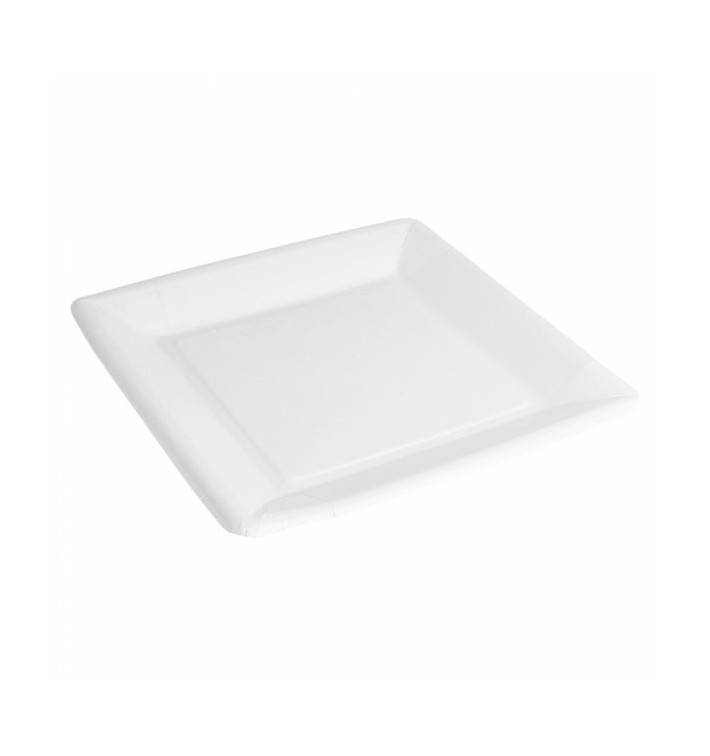 Plato de Papel Biocated Blanco Cuadrado 23cm (400 Uds)