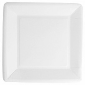 Plato de Papel Biocated Blanco Cuadrado 18cm (400 Uds)
