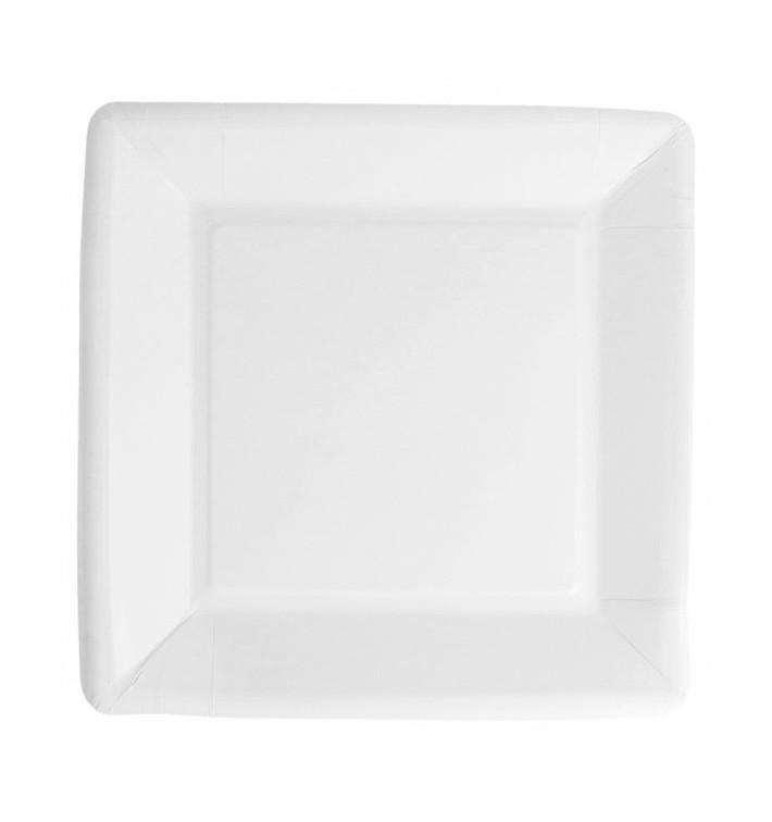 Plato de Papel Biocated Blanco Cuadrado 18cm (400 Uds)