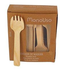 Mini Tenedor de Madera Natural 105mm (1000 Uds)