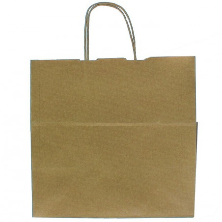 Bolsa Papel Kraft Marron con Asas 90g 32+21x28,5 cm (50 Uds)