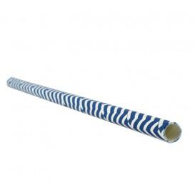 Pajita Recta de Papel Azul y Blanco Ø6mm 20cm (100 Uds)