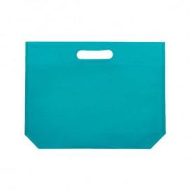 Bolsa Reutilizable Troquelada TNT Aguamarina 34+8x26cm 80g (25 Uds)