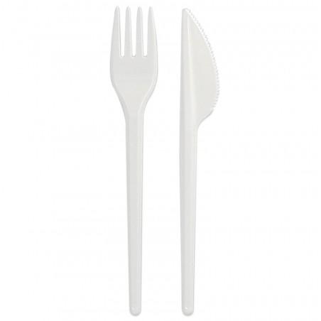 Set Cubiertos Plastico Tenedor y Cuchillo Blanco (25 Uds)